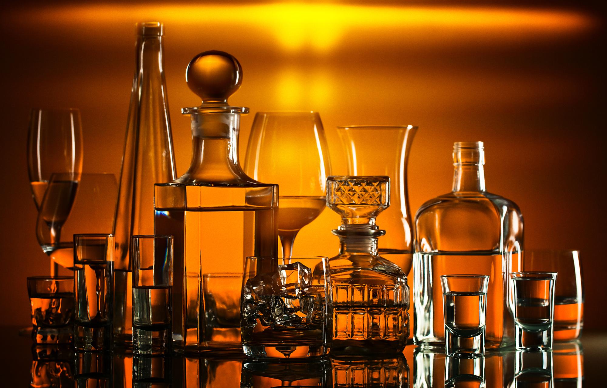 ウイスキーはボトル縦置きでラベルも見える