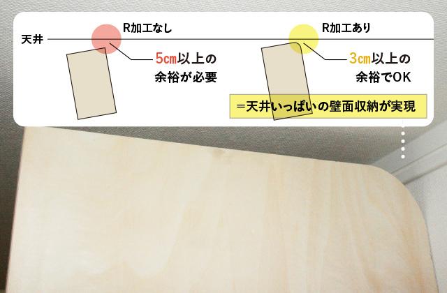 壁面収納のR加工