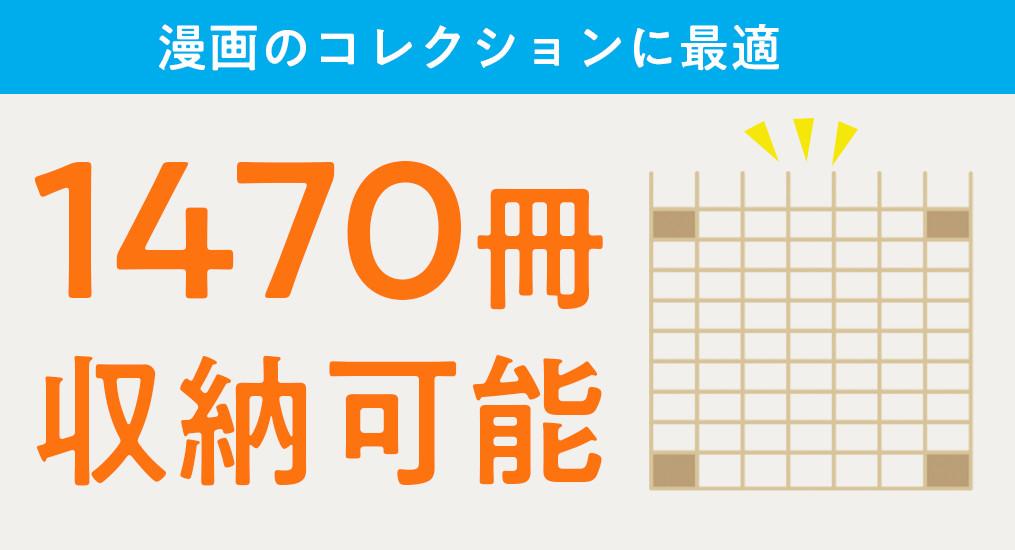 たった1つの壁面収納に1470冊が収納できる