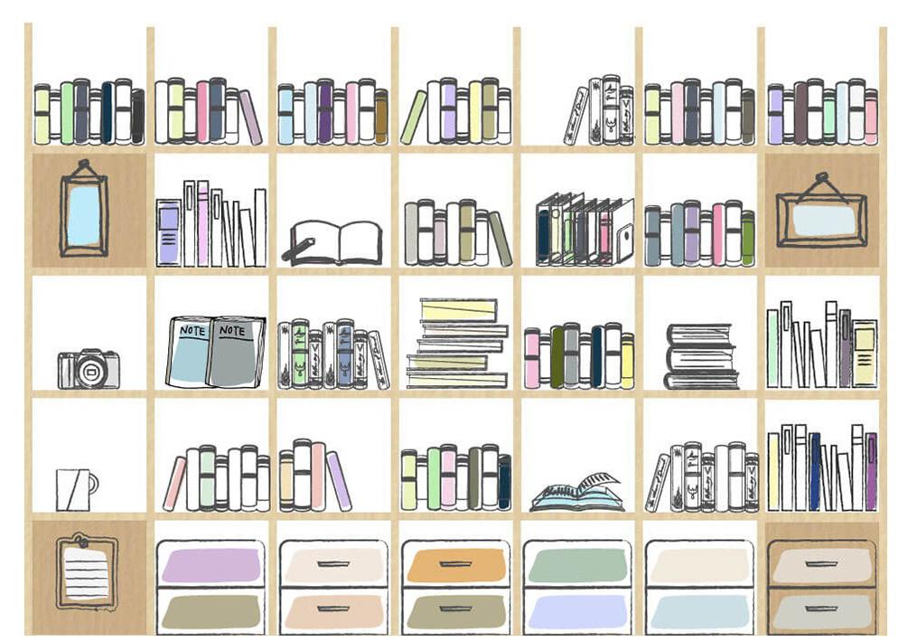 壁面収納の三面設置で「本棚」から「書庫」へ