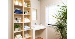 手が届かない空間も壁面収納でフル活用!ワンランク上の洗面所スペース