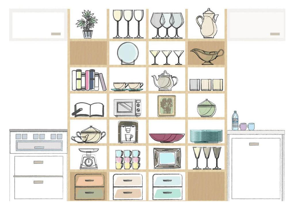 壁面収納で「しまう」食器棚から「見せる」食器棚へ